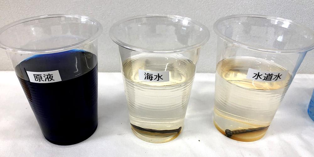 ソウトアウェイ原液と海水と水道水の錆発生実験