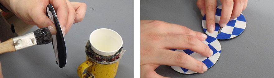 生地の接着面に専用の接着剤を塗り手作業で貼り合わせ