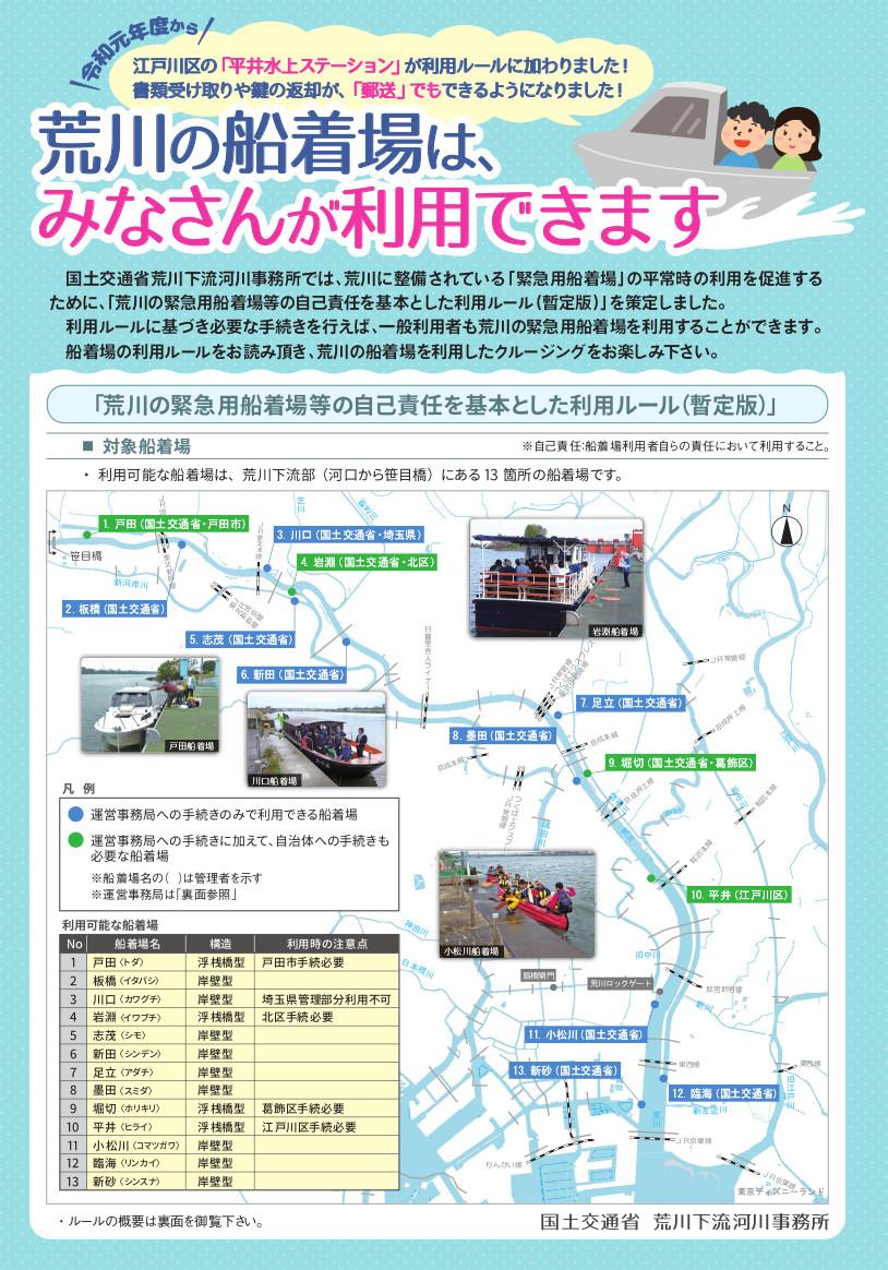 荒川の緊急用船着場等の自己責任を基本とした利用ルール